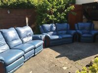 BLUE LEATHER SOFA SET IN MINT CONDITION VERY CLEAN FREE DELIVERY LOCAL