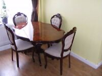 CAN DELIVER - VERY RARE HIGHLY POLISHED ITALIAN DINING TABLE AND 4 CHAIRS IN VERY GOOD CONDITION