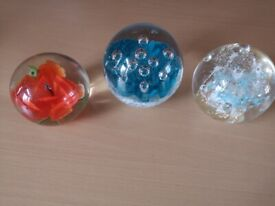 THREE BEAUTIFUL GLASS PAPER WEIGHTS