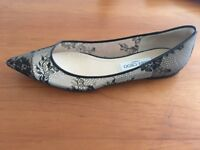 Jimmy Choo Lace Flat Pointy Toe Made in Italy luxury brand