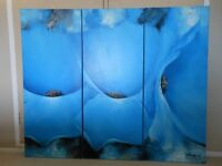BLUE POPPY TRYPTICH OIL ON CANVAS LAID ON BOARD