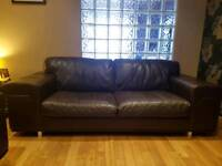 MATCHING BROWN DFS LEATHER SOFA 3&2