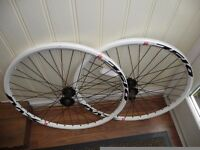"26"" MTB MACH1 MX WHITE RIMS SHIMANO 8/9 SPEED HUB NEW WHEELSET DISC ONLY"