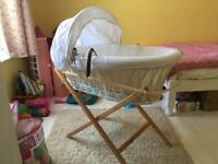 Moses basket and fold away stand £35