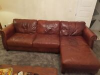 Brown leather chesterfield type L shaped sofa, big bucket chair and foot stool. Amazing condition