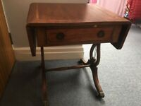 Smalll mahogany side table, one drawer, 2 flaps on side making it a small coffee table