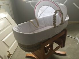 Moses basket swinging base and mamas and papas mattress