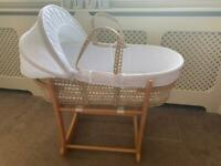 Baby John Lewis Moses Basket & Stand Mattress Padded Liner & Fitted Sheets X2
