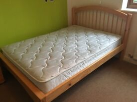 Solid Pine Double Bed with Mattress - 203 x 148 CM (6'8 x 4'9)