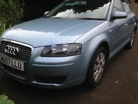 Blue Audi A3 TDI 170 A .Hatchback Semi Automatic 2l diesel 2007. MOT to June 2017