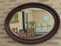 Extra Large Vintage Antique Mahogany Oval Wall Bevelled Mirror