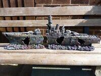 Aquarium WW2 shipwreck and sunken log for sale
