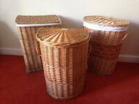3 x Wicker Linen / Laundry Baskets