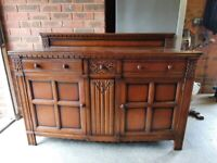 Antique Solid Sideboard with Carved Detail