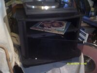 HI-FI BASE CABINET for TURNTABLE & AMPLIFIER etc IN BLACK ASH with a GLASS DOOR +++++++