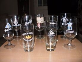 German drinking glasses with brewery emblems