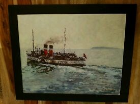 David Griffiths Oil Painting Original Signed Artist To The Royals (Waverly Leaving Penarth) Stunning