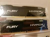 16GB 2x8GB Kingston hyperx fury DDR4 RAM, 2400mhz