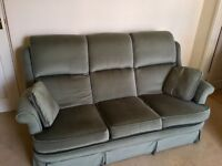 Green three seater sofa / couch / settee plus two cushions