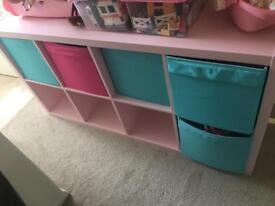Kallax pink with 5 boxes