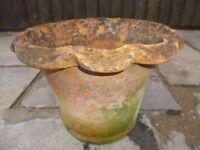 2 old terracotta flower pots for sale