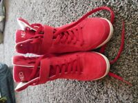 Red Adidas Neo high top wedges
