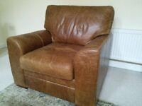 For Sale 2 Seat Sofa, 2 armchairs and footstall, Seattle Vintage Leather by Worth Furnishing