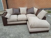 Fabulous BRAND NEW corner sofa.Brown leather base and beige fabric cushions.BRAND NEW. can deliver