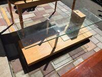Oak + Glass TV Console Table