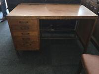 Delightful Military Officer's Vintage Solid Oak Office Writing Desk Five Drawers
