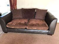 2 seater and 3 seater leather sofas with dark brown fabric cushions