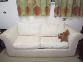 Fabric Sofa Bed - Natural Colour Sofa (approx.): H63cm, D75cm, W180cm
