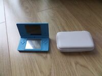 Turquoise Nintendo DSi and case.