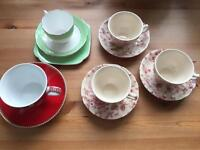 Selection of vintage style tea cups and saucers. Perfect for afternoon tea/ wedding