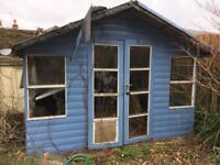 Dilapidated Blue Summer House / Shed / doors