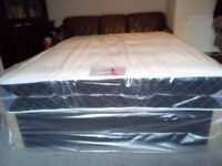 Black king size bed. Divan base and 10inch deep luxury memory mattress. Free delivery