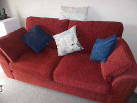 TWO IMMACULATE JOHN LEWIS SOFAS IN BERRY RED - LESS THAN TWO YEARS OLD (WILL SPLIT)