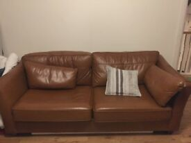 Leather sofa bed brown M&S cheap
