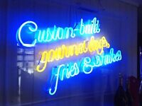 "Barely Used Neon ""Custom-built Gourmet Dogs, Fries & Shakes"" Sign In Plexi Case"