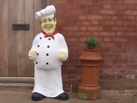 4 FOOT COOK/CHEF ADVERTISING FIGURE WITH CHALK BOARD