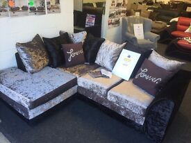 Corner or 3+2 glitz fabric sofas ,different colours available
