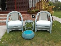 2 Chairs in Good condition with footstool