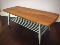 Ercol Coffee Table with Magazine Rack Vintage Mid Century Solid Elm