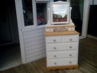 Pine solid chest of drawers and mirror dove tail