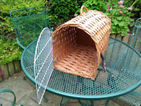 Wicker Cat Basket Pet carrier Large Cat Kitten Small Dog Cage Travel Vets Visit Secure