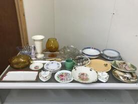 Quantity of named pottery and vintage glass ware
