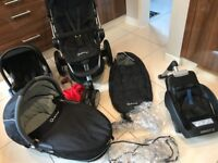 QUINNY TRAVEL SYSTEM - 3 piece set: pushchair, pram, maxi cosi car seat including isofix base.
