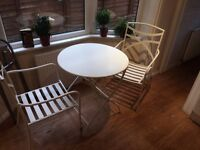 White Garden Set Fold-able Table and Two Chairs