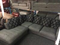 New/Ex Display Dfs Grey and Black Corner Sofa