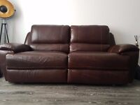 AMAZING BRAND NEW 100% LEATHER ELECTRIC RECLINING SOFA 3 SEATER